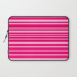 Bright hot and pale pink abstract horizontal linework Laptop Sleeve