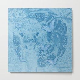 Ghostly alpaca with butterflies in snorkel blue Metal Print