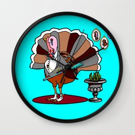 A Thanksgiving Dressed Turkey with a Rifle Wall Clock
