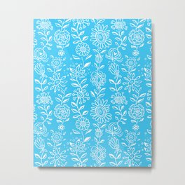 wonky wildflower waterfall in aqua Metal Print