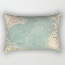 Vintage Atlantic Ocean Travel Routes and Timeline Map (1912) Rectangular Pillow