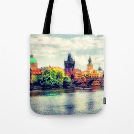 Prague panorama watercolor Tote Bag