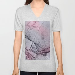 Urban Pink and Grey Marble Pattern Unisex V-Neck