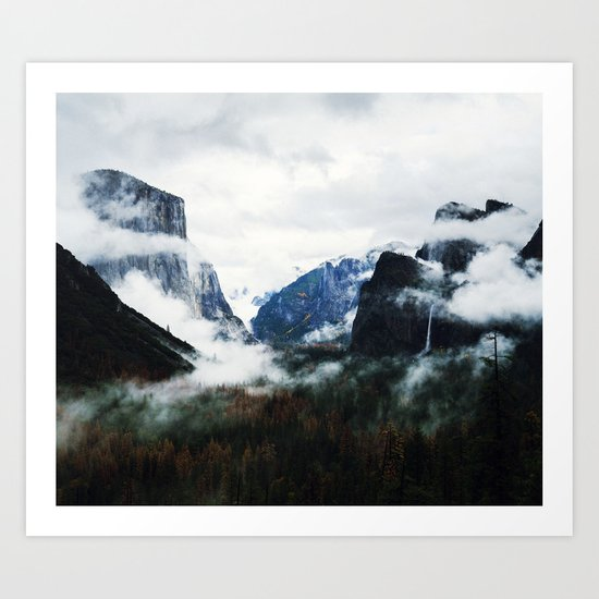 Cloudy Forest Great Outdoors Mountains Photography Art Print