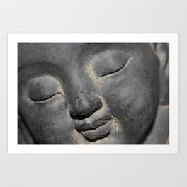 Gentle Buddha Face Stone Sculpture Art Print
