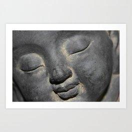 Gentle Buddha Face Stone Sculpture Art Print