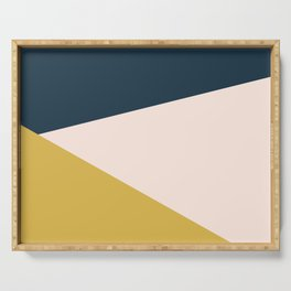 Jag 2. Minimalist Angled Color Block in Navy Blue, Blush Pink, and Mustard Yellow Serving Tray