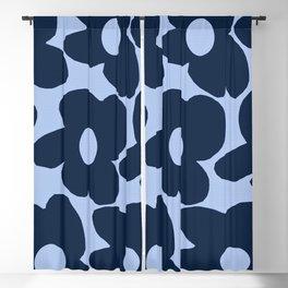 Large Dark Blue Retro Flowers Baby Blue Background #decor #society6 #buyart Blackout Curtain