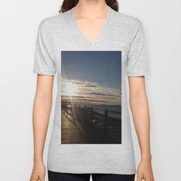 Boardwalk bathed in sunshine - Caloundra Australia Unisex V-Neck