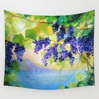 italy Wall Tapestries featuring Grapes Italy by OLHADARCHUK