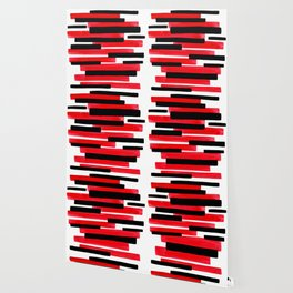 Red Primitive Stripes Mid Century Modern Minimalist Watercolor Gouache Painting Colorful Stripes Wallpaper