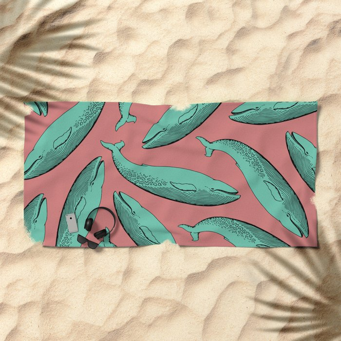 calm whale pattern Beach Towel