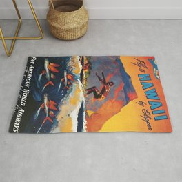 Hawaii Surfing, Diamondhead, World Airways Vintage Travel Poster Rug