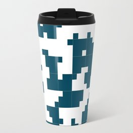 Small Pixel Big Pixel - Geometric Pattern in Dark Blue Travel Mug
