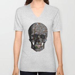 Happy Skulls Random Pattern (Gray) Unisex V-Neck