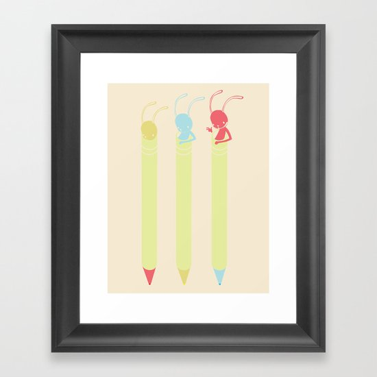 INK BUNNY & ROLL Framed Art Print