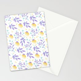 Yellow flowers and purple leaves Stationery Cards