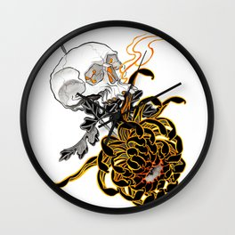 Chrysanthemum Skull Wall Clock