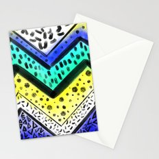 Blue yellow painted chevron acrylic watercolor pattern Stationery Cards
