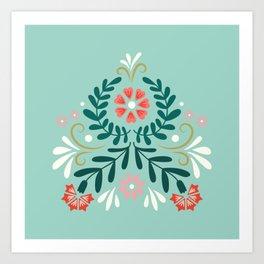 Floral Folk Pattern Art Print
