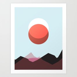 Minimalist Red Moon Lunar Eclipse with Mountains Art Print