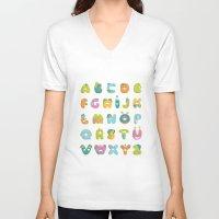 alphabet V-neck T-shirts featuring alphabet by lalehan canuyar