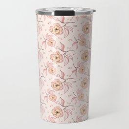 Pink Peony Kiss Floral Pattern Travel Mug