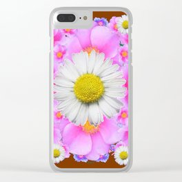 Chocolate Brown Color Shasta Daisies & Rose Pattern Garden Art Clear iPhone Case