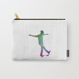 Man skateboard 07 in watercolor Carry-All Pouch