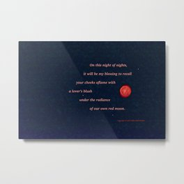 """Red Moon"" with poem: Night Of Nights Metal Print"