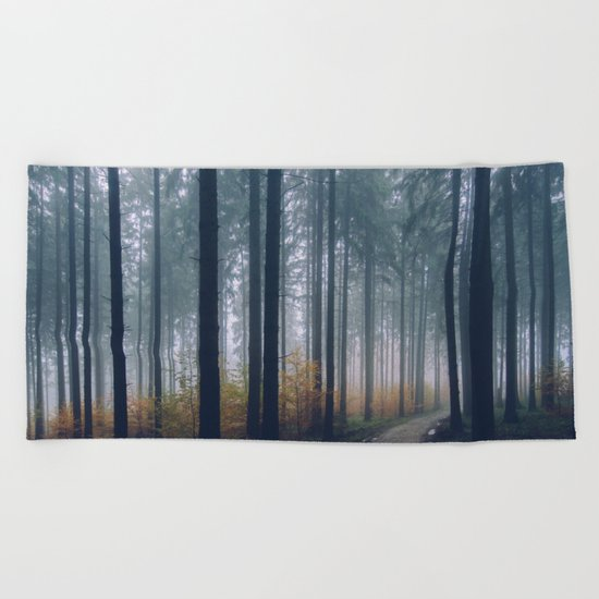 Into the woods #fog Beach Towel