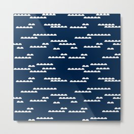 abstract nautical navy and white modern trendy basic pattern print nursery pattern Metal Print