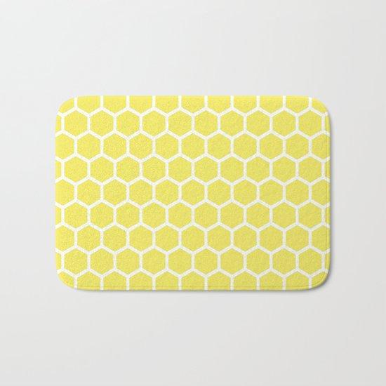 Summery Happy Yellow Honeycomb Pattern- MIX & MATCH Bath Mat