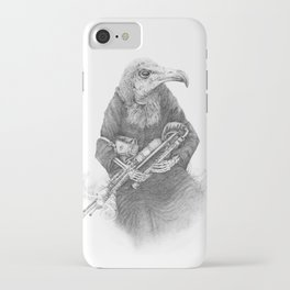 Hooded Vulture with Uilleann Pipes iPhone Case
