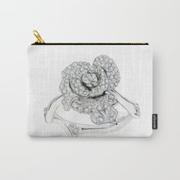 Silver Rose Ring Carry-All Pouch