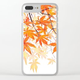 orange maple leaves watercolor Clear iPhone Case