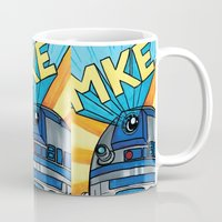 milwaukee Mugs featuring Milwaukee: R2D2 MKE by Amanda Iglinski