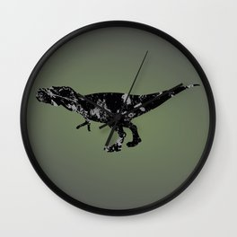T-rex - black and gray Wall Clock