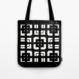PLAZA stark black and white repeating square pattern with border Tote Bag