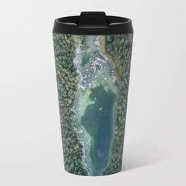 Aerial photo of a magic lake hidden inside a pine forest Travel Mug
