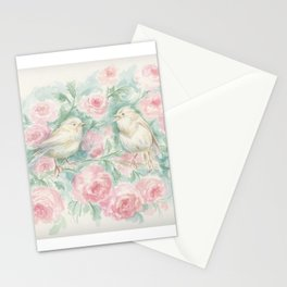 WHITE BIRDS WEDDING Bird & Pink Roses Romantic Love scene Watercolor painting Illustration Stationery Cards