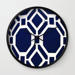 Blue Octagon Pattern Wall Clock