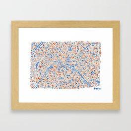 Paris City Map Poster Framed Art Print