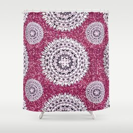 Pink Glitter and Pearl White Patterned Mandala Textile Shower Curtain