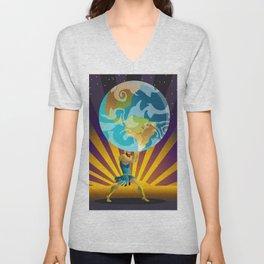 atlas holding the world Unisex V-Neck
