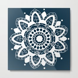 Simple white mandala on navy blue Metal Print