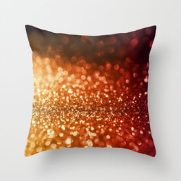 Fire and flames - Red and yellow glitter effect texture Throw Pillow