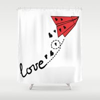plane Shower Curtains featuring Origami plane by Cindys