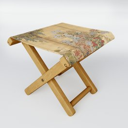 Japanese Edo Period Six-Panel Gold Leaf Screen - Spring and Autumn Flowers Folding Stool