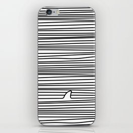 Minimal Line Drawing Simple Unique Shark Fin Gift iPhone Skin